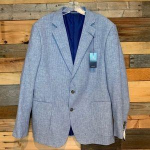 NWT Stafford Classic Fit Blazer Linen/Cotton Blue